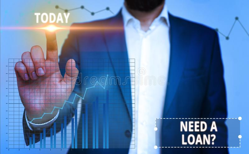 Handwriting text writing Need A Loan Question. Concept meaning asking he need money expected paid back with interest. Handwriting text writing Need A Loan stock photo
