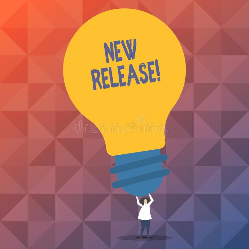 Handwriting text writing New Release. Concept meaning announcing something newsworthy recent product Person Standing and vector illustration
