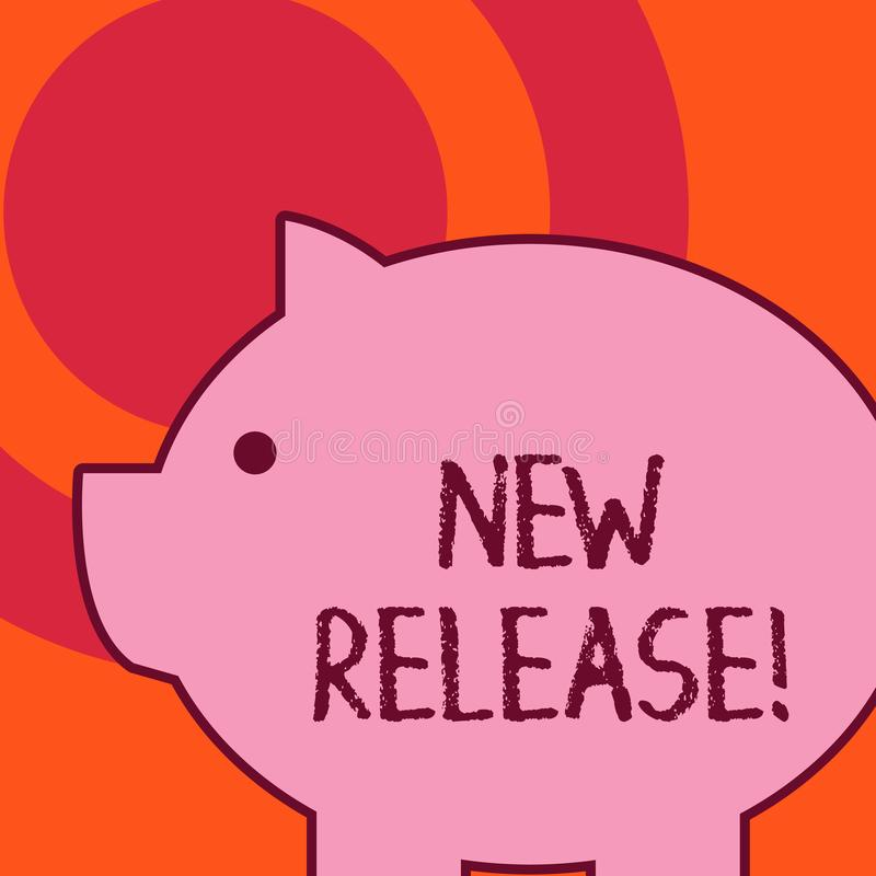Handwriting text writing New Release. Concept meaning announcing something newsworthy recent product Side view big piggy royalty free illustration