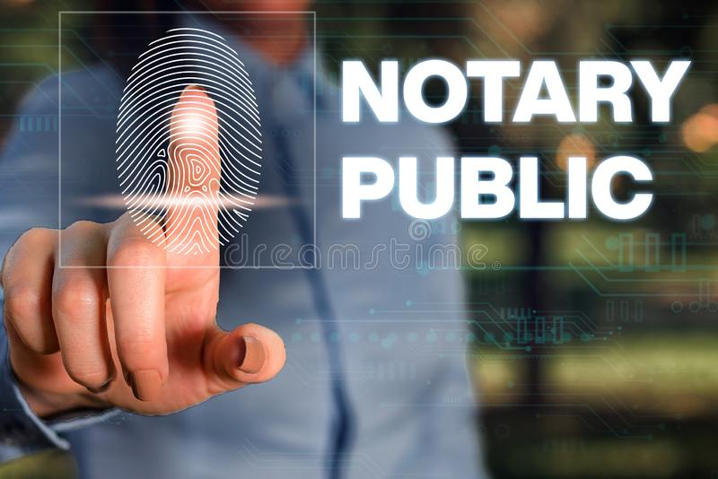 Handwriting text writing Notary Public. Concept meaning Legality Documentation Authorization Certification Contract. Handwriting text writing Notary Public royalty free stock photos