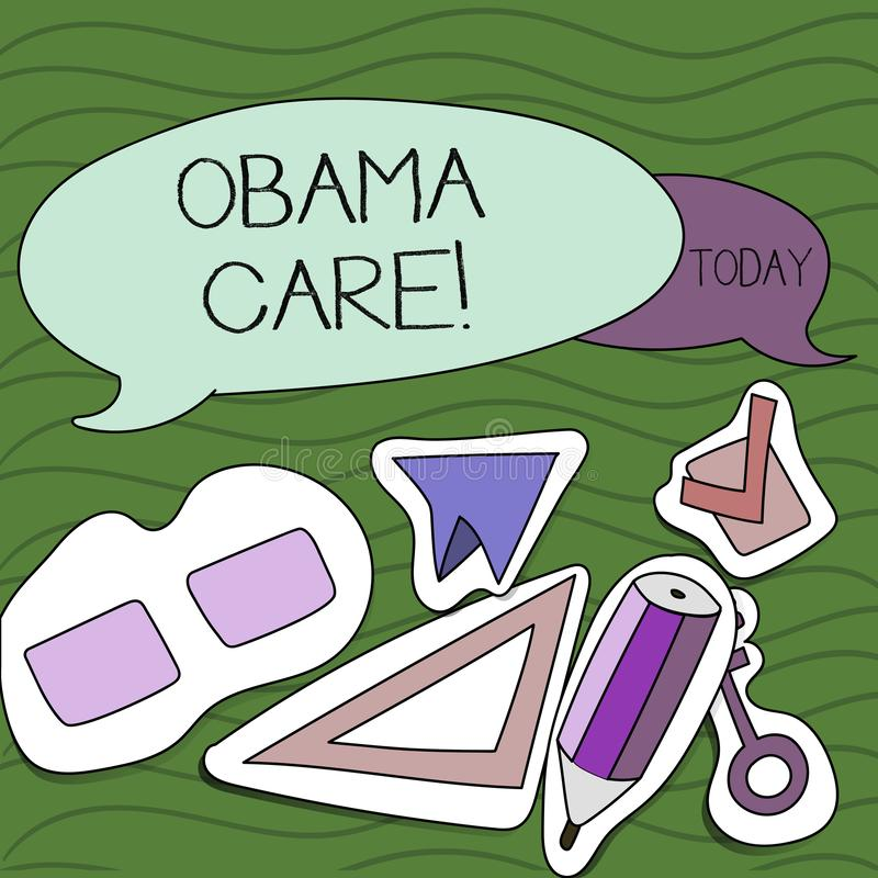 Handwriting text writing Obama Care. Concept meaning Government Program of Insurance System Patient Protection. Handwriting text writing Obama Care. Conceptual stock illustration