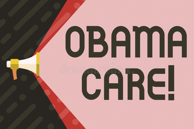 Handwriting text writing Obama Care. Concept meaning Government Program of Insurance System Patient Protection. Handwriting text writing Obama Care. Conceptual royalty free illustration