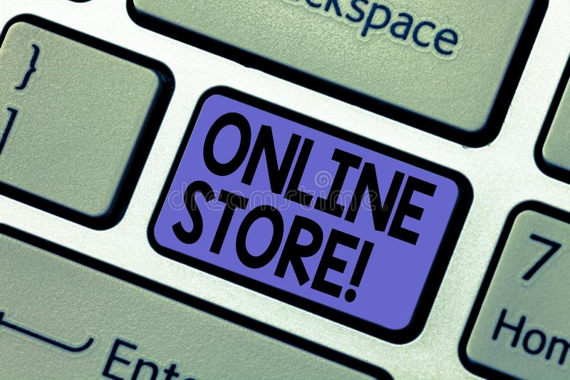 Handwriting text writing Online Store. Concept meaning Internet related business Website where you can buy in the net Keyboard key. Intention to create computer stock photography