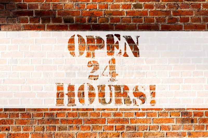 Handwriting text writing Open 24 Hours. Concept meaning Working all day everyday business store always operating Brick. Wall art like Graffiti motivational call royalty free stock photos