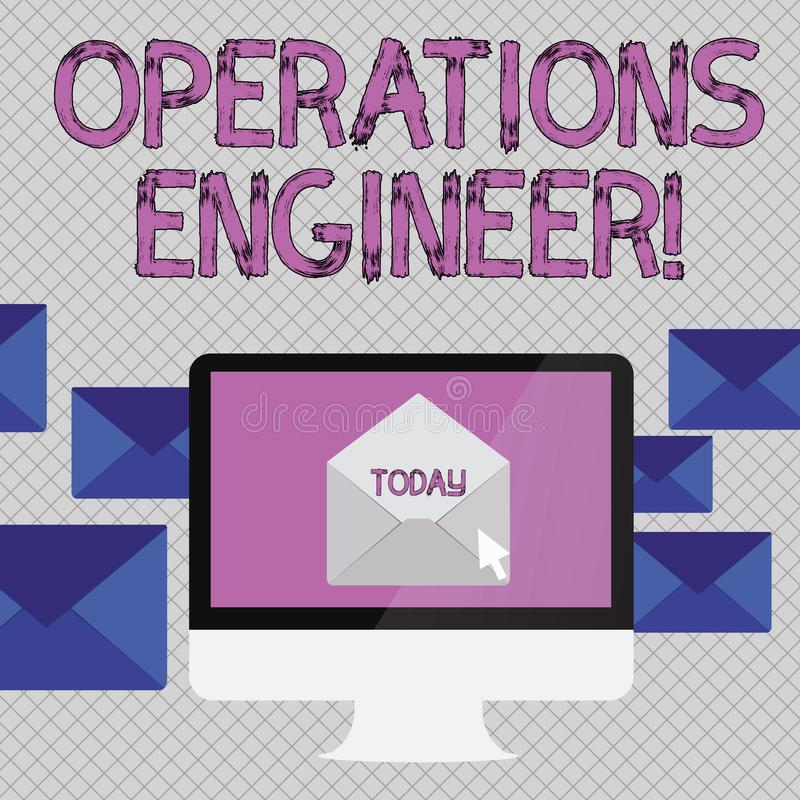Handwriting text writing Operations Engineer. Concept meaning analyze and design operation that will improve work flow. Handwriting text writing Operations stock illustration