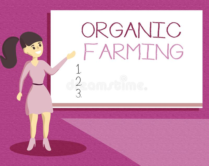 Handwriting text writing Organic Farming. Concept meaning an integrated farming system that strives for sustainability.  royalty free illustration