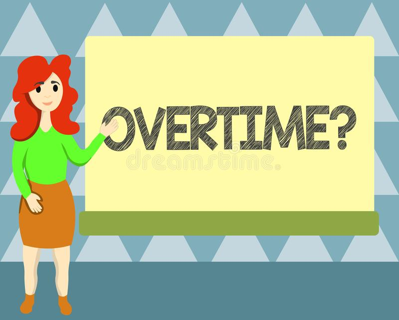 Handwriting text writing Overtime question. Concept meaning Time worked in addition to regular working hours vector illustration