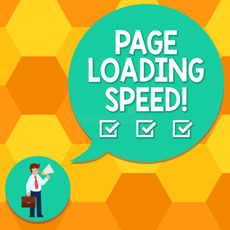 Handwriting text writing Page Loading Speed. Concept meaning time it takes to download and display content of web Man in Necktie. Carrying Briefcase Holding stock illustration