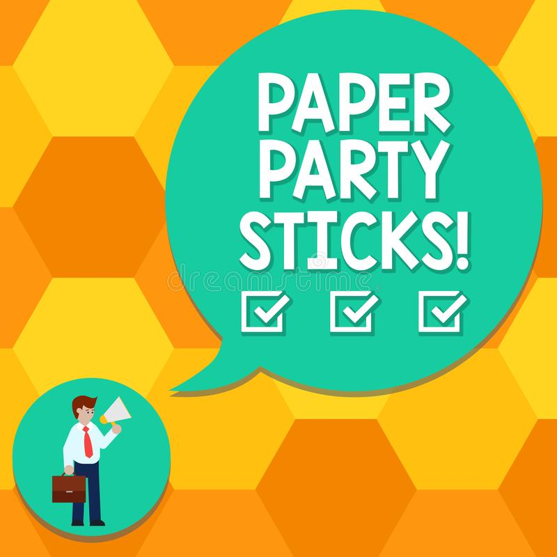 Handwriting text writing Paper Party Sticks. Concept meaning colored shapes of hard paper used create emojis Man in Necktie vector illustration