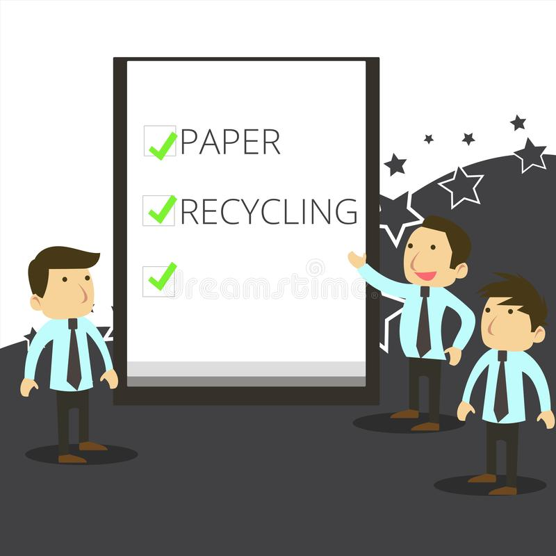Handwriting text writing Paper Recycling. Concept meaning Using the waste papers in a new way by recycling them Business. Handwriting text writing Paper vector illustration