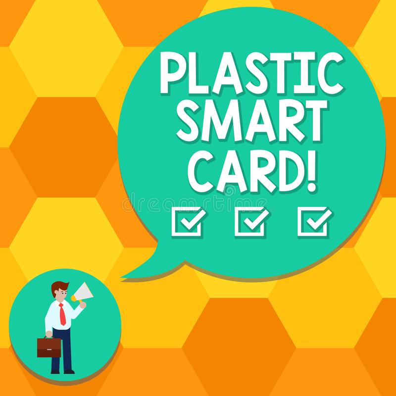 Handwriting text writing Plastic Smart Card. Concept meaning security token that has embedded intelligent chip Man in Necktie stock illustration
