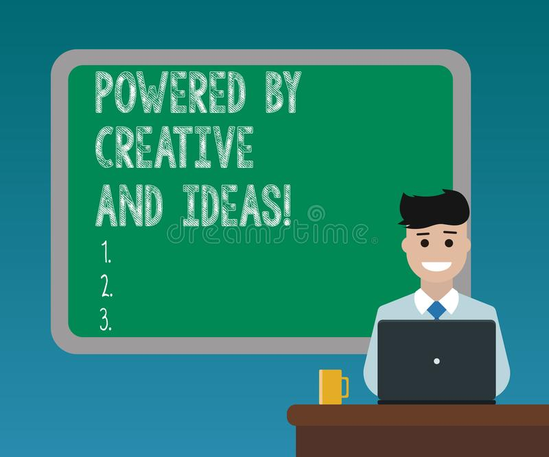 Handwriting text writing Powered By Creative And Ideas. Concept meaning Powerful creativity innovation good energy Blank Bordered royalty free stock image