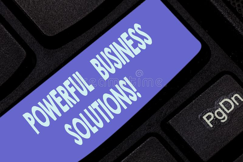 Handwriting text writing Powerful Business Solutions. Concept meaning ideas used to help a company achieve its goals. Keyboard key Intention to create computer royalty free stock photo