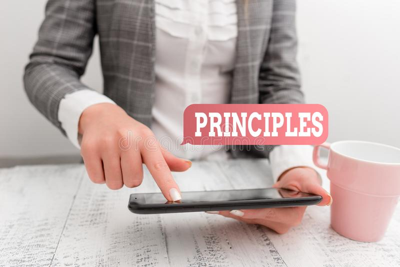 Handwriting text writing Principles. Concept meaning fundamental truth that serves as the base for a system of belief. Handwriting text writing Principles stock image