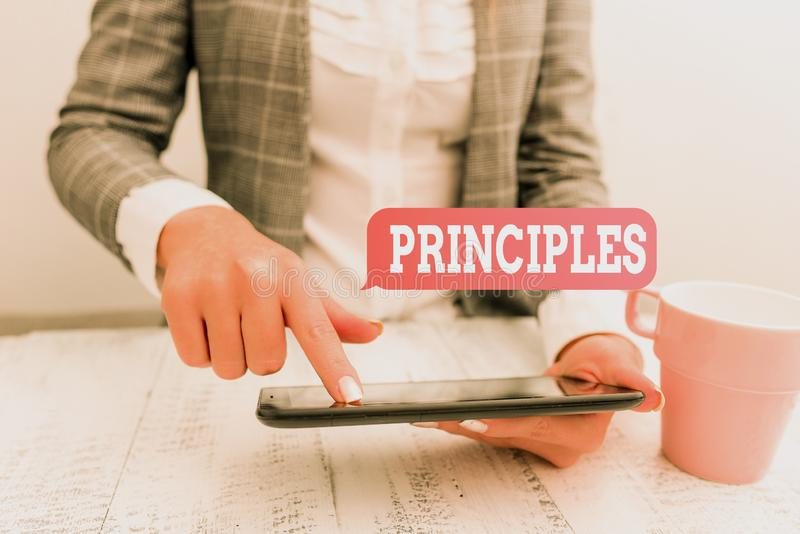 Handwriting text writing Principles. Concept meaning fundamental truth that serves as the base for a system of belief. Handwriting text writing Principles stock photo