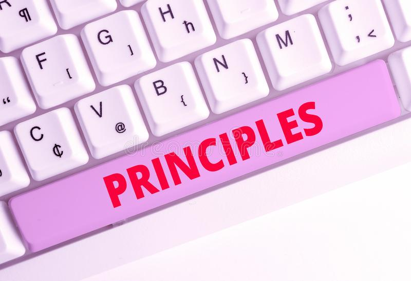 Handwriting text writing Principles. Concept meaning fundamental truth that serves as the base for a system of belief. Handwriting text writing Principles stock photography