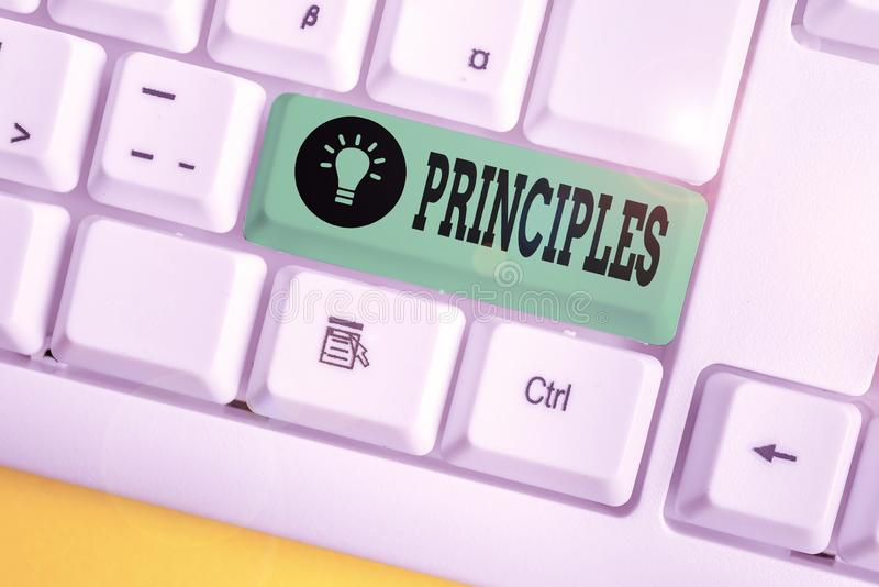 Handwriting text writing Principles. Concept meaning fundamental truth that serves as the base for a system of belief White pc. Handwriting text writing stock images