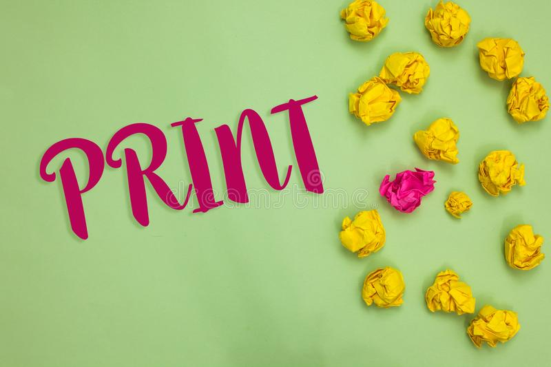 Handwriting text writing Print. Concept meaning Produce letter numbers symbols on paper by machine using ink or toner Paper object. Love ideas cool crumpled stock photo