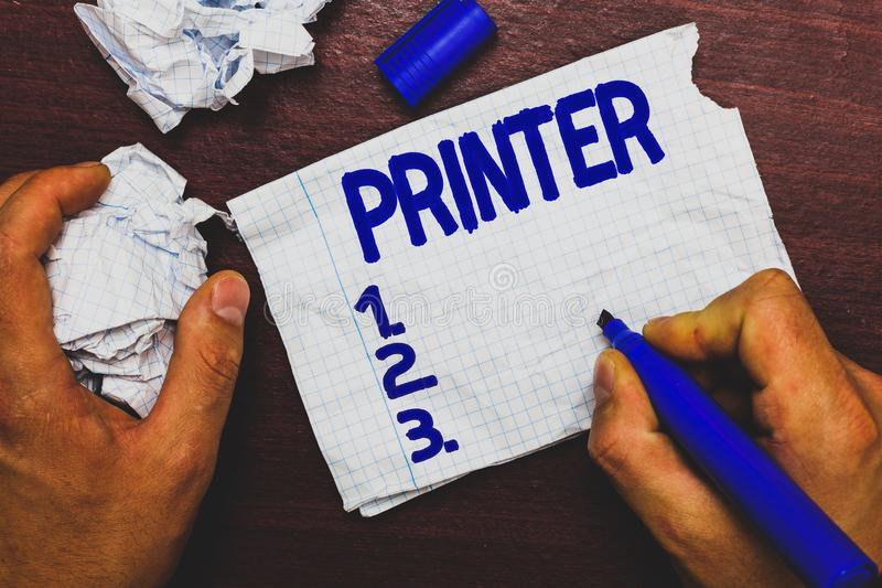 Handwriting text writing Printer. Concept meaning Device used to print things made on computer Office equipment Man stock image