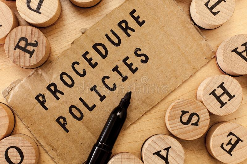 Handwriting text writing Procedure Policies. Concept meaning Steps to Guiding Principles Rules and Regulations.  royalty free stock image