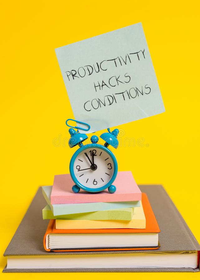 Handwriting text writing Productivity Hacks. Concept meaning tricks that you get more done in the same amount of time. Handwriting text writing Productivity stock image