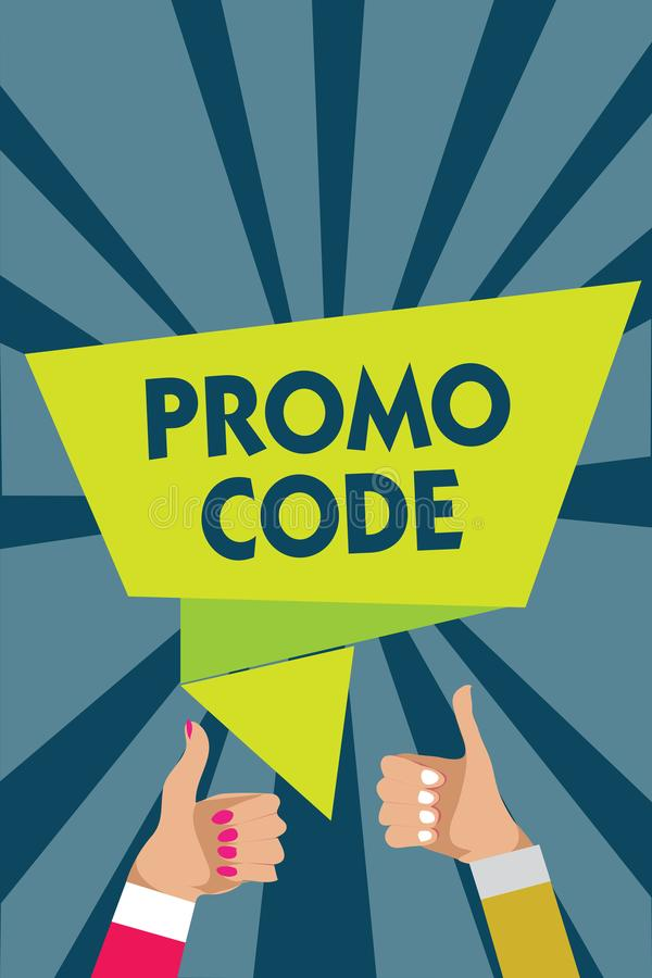Handwriting text writing Promo Code. Concept meaning digital numbers that give you good discount on certain product Man woman hand stock illustration