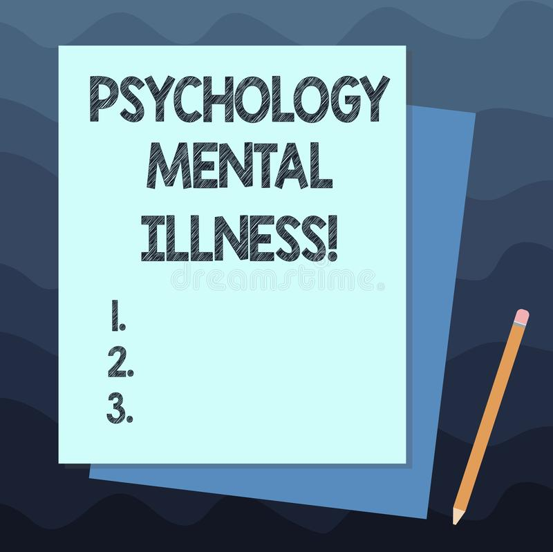 Handwriting text writing Psychology Mental Illness. Concept meaning Psychiatric disorder Mental health condition Stack of Blank. Different Pastel Color stock illustration
