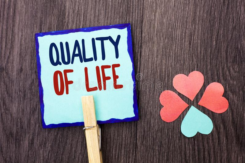 Handwriting text writing Quality Of Life. Concept meaning Good Lifestyle Happiness Enjoyable Moments Well-being written on Sticky. Handwriting text writing royalty free stock photo