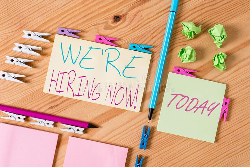 Handwriting text writing We Re Hiring Now. Concept meaning recently employ someone or pay someone to do particular job. Handwriting text writing We Re Hiring Now stock photos