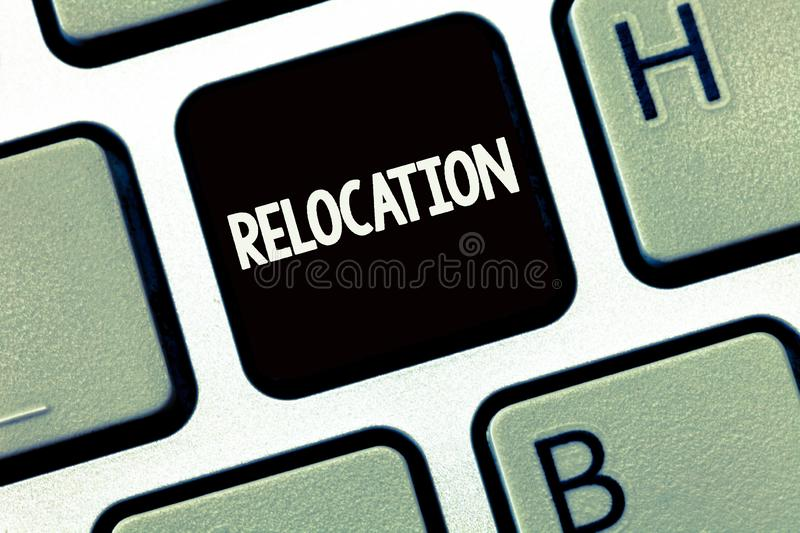 Handwriting text writing Relocation. Concept meaning Action of moving to a new place and establishing home or business.  royalty free stock image