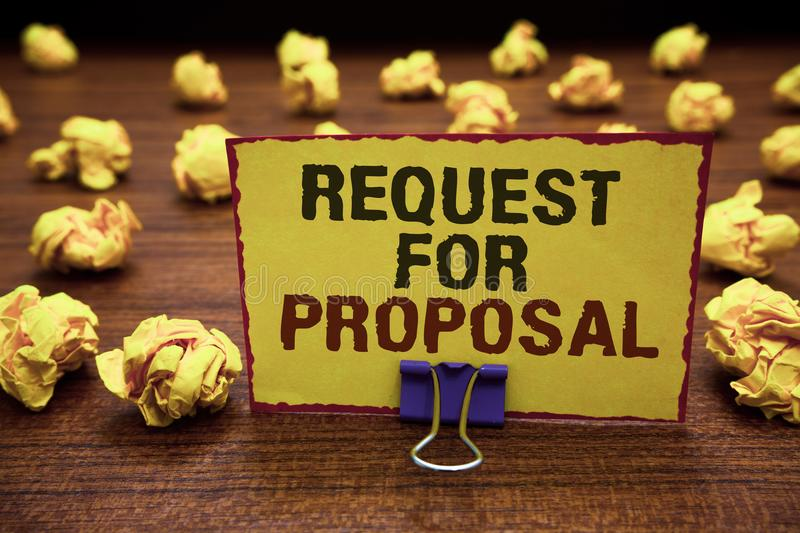 Handwriting text writing Request For Proposal. Concept meaning document contains bidding process by agency or company Yellow stick. Y card clipped text notice stock photos