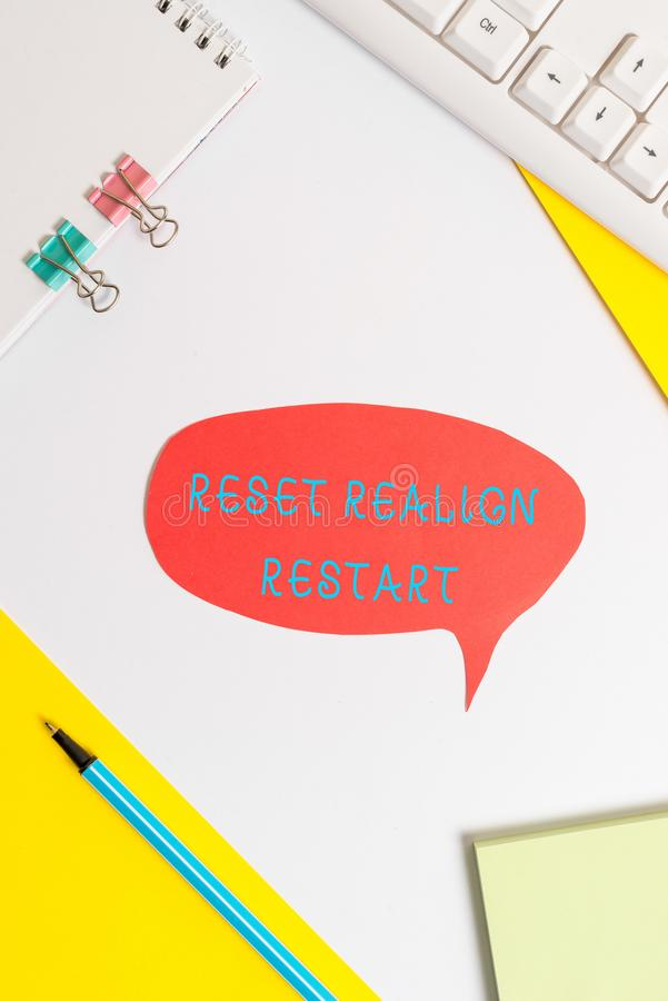 Handwriting text writing Reset Realign Restart. Concept meaning Life audit will help you put things in perspectives. Handwriting text writing Reset Realign stock photography