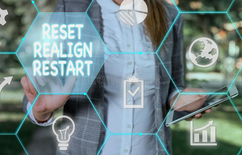 Handwriting text writing Reset Realign Restart. Concept meaning Life audit will help you put things in perspectives. Handwriting text writing Reset Realign royalty free stock images