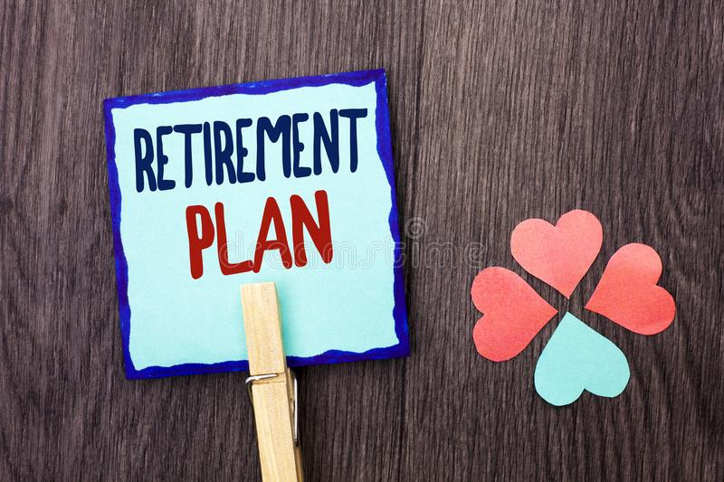 Handwriting text writing Retirement Plan. Concept meaning Savings Investments that provide incomes for retired workers written on. Handwriting text writing stock photos