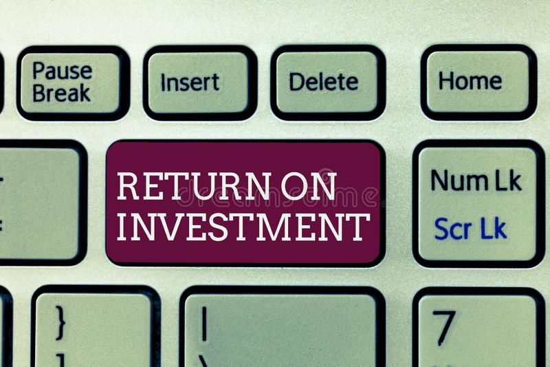Handwriting text writing Return On Investment. Concept meaning Ratio between the Net Profit and Cost invested royalty free stock image
