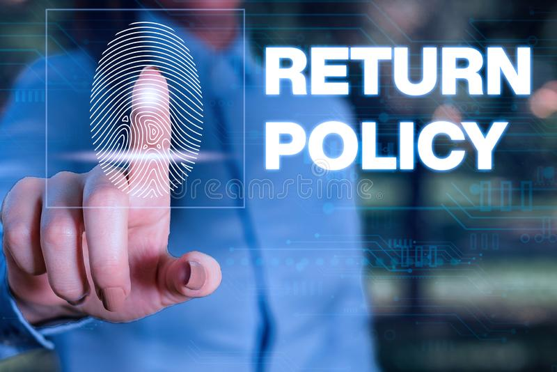Handwriting text writing Return Policy. Concept meaning Tax Reimbursement Retail Terms and Conditions on Purchase Woman. Handwriting text writing Return Policy stock photography