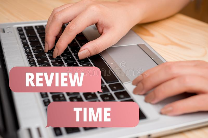 Handwriting text writing Review Time. Concept meaning to think or talk about something again Set schedule to review. Handwriting text writing Review Time stock illustration