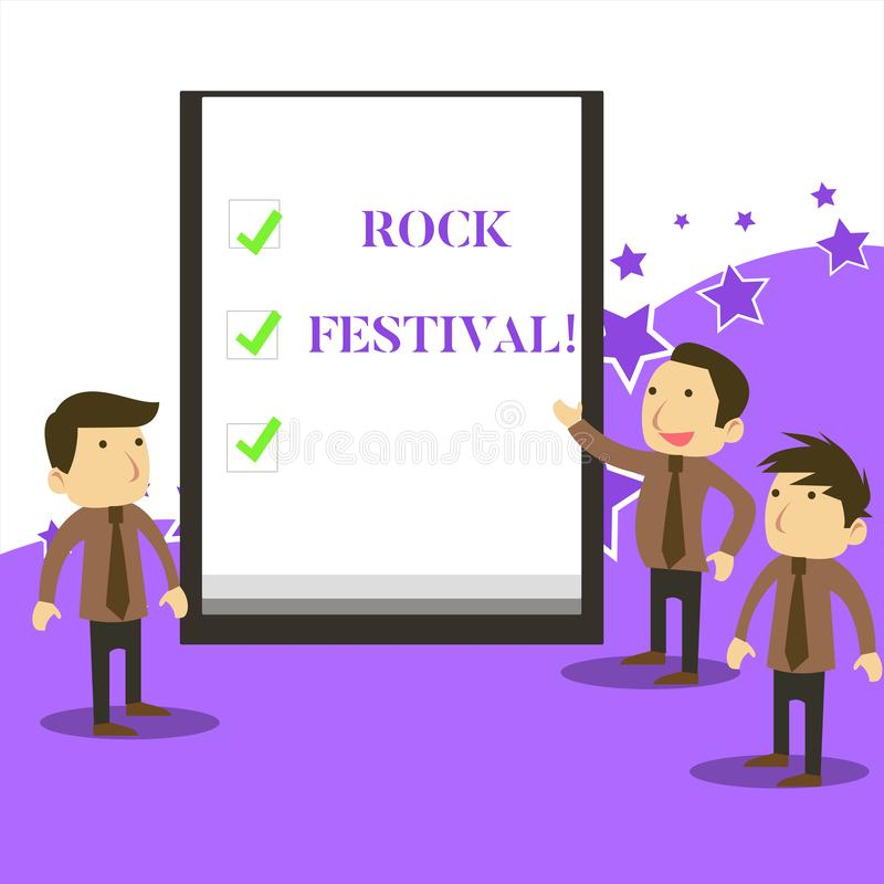 Handwriting text writing Rock Festival. Concept meaning Largescale rock music concert featuring heavy metals genre. Handwriting text writing Rock Festival stock illustration