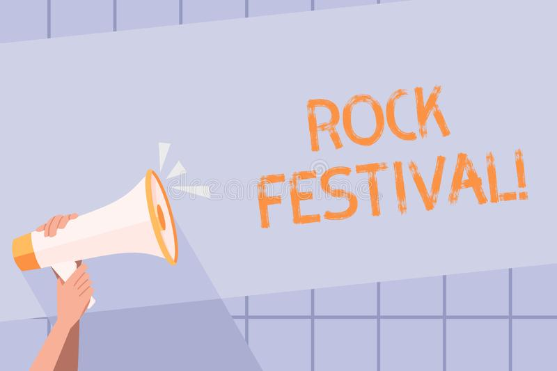 Handwriting text writing Rock Festival. Concept meaning Largescale rock music concert featuring heavy metals genre Human. Handwriting text writing Rock Festival vector illustration