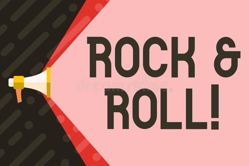 Handwriting text writing Rock And Roll. Concept meaning Musical Genre Type of popular dance music Heavy Beat Sound. Handwriting text writing Rock And Roll vector illustration
