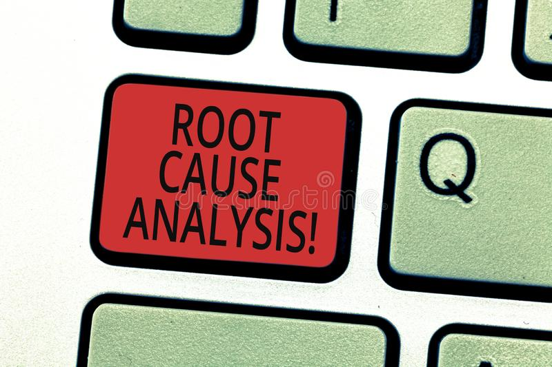 Handwriting text writing Root Cause Analysis. Concept meaning method of problem solving used for identifying causes. Keyboard key Intention to create computer royalty free illustration