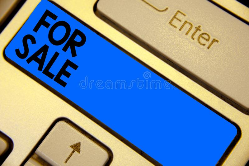 Handwriting text writing For Sale. Concept meaning putting property house vehicle available to be bought by others Keyboard blue k stock images