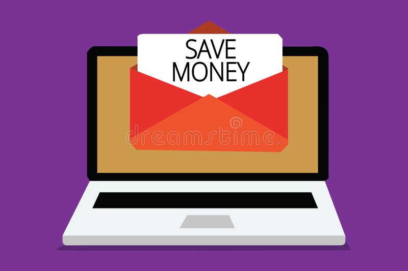 Handwriting text writing Save Money. Concept meaning store some of your cash every month to use them sometime later Computer recei. Ving email important message stock image