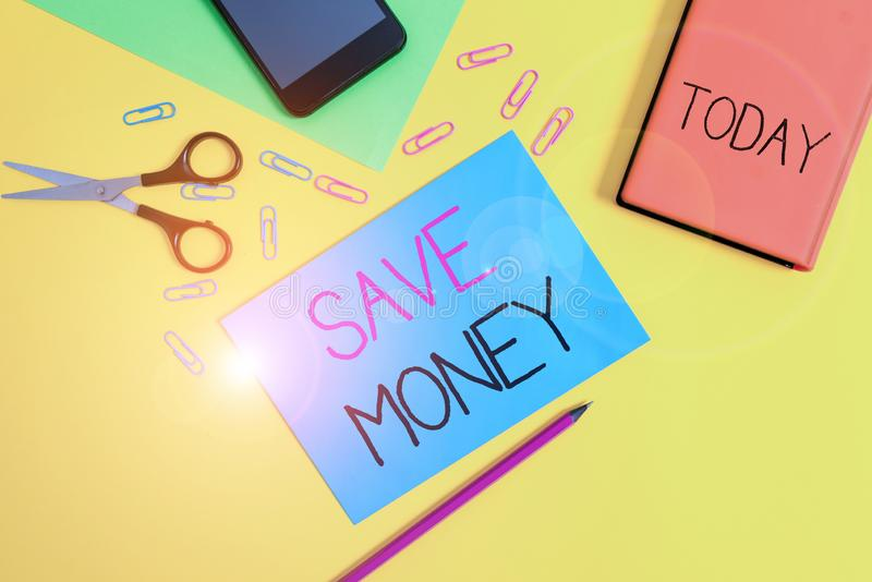 Handwriting text writing Save Money. Concept meaning store some of your cash every month to use them sometime later. Handwriting text writing Save Money royalty free stock photos