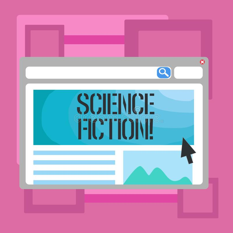 Handwriting text writing Science Fiction. Concept meaning Fantasy Entertainment Genre Futuristic Fantastic Adventures. Handwriting text writing Science Fiction vector illustration