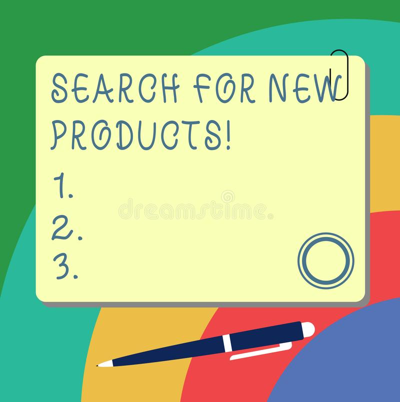 Handwriting text writing Search For New Products. Concept meaning Look different things to sell get other customers. Blank Square Color Board with Magnet Click stock illustration