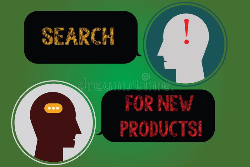 Handwriting text writing Search For New Products. Concept meaning Look different things to sell get other customers. Messenger Room with Chat Heads Speech stock illustration