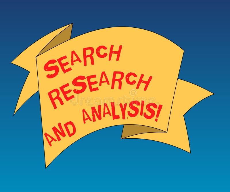Handwriting text writing Search Research And Analysis. Concept meaning Investigation data information analytics Folded 3D Ribbon royalty free illustration
