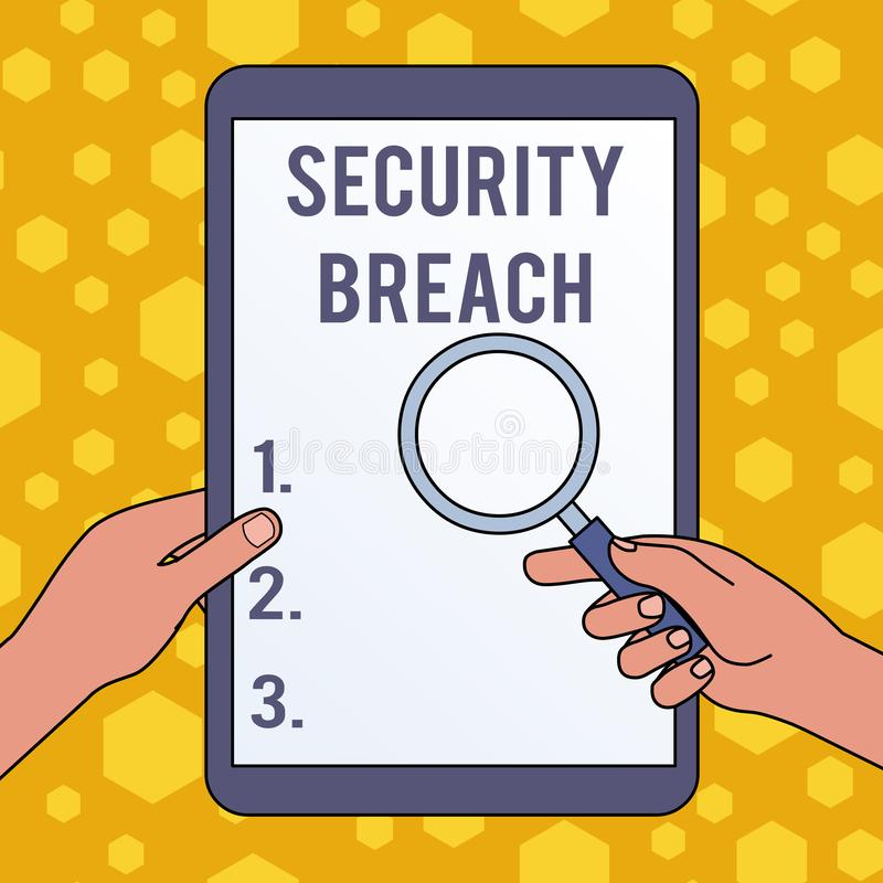 Handwriting text writing Security Breach. Concept meaning incident that results in unauthorized access of data Hands. Handwriting text writing Security Breach stock illustration