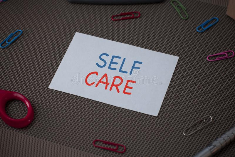 Handwriting text writing Self Care. Concept meaning the practice of taking action to improve one s is own health. Handwriting text writing Self Care. Conceptual royalty free stock photos